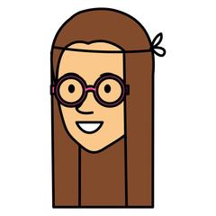hippie woman head avatar character