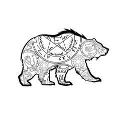 Grizzly bear. Vector illustration, isolated on white background. A totemic animal with abstract occult ornaments. Magical folk tattoo