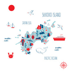 Japan cartoon travel map, vector illustration Shikoku island, japanese symbols sakura flower, umbrella, fan, traditional food sushi, salmon, tea, bamboo, kimono, touristic icons for design advertising