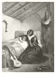 Vintage gray tone illustration of a mother crying close to her sick daughter sleeping on  the bed.