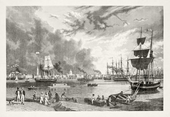 Vintage gray tone illustration of New Orleans port. Ships and people on foreground.