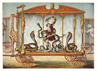 Vintage Illustration of a snake tamer inside a snake circus wagon