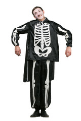 halloween, holidays, all saints day concept. on white background isolated cute funny guy is dressed up like a skeleton and has special make up, he is making excellent pantomime show