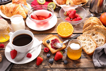 continental breakfast with coffee,tea,fruit and bread