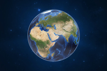 Planet Earth with starry galactical background. Elements of this image furnished by NASA