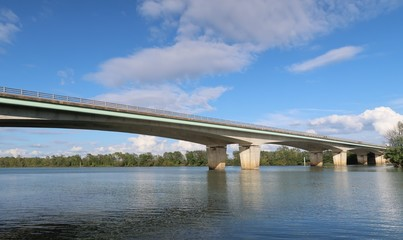 """View on the bridge on the """"Highway of the Titans"""" of Autoroute A40"""