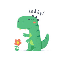Lamas personalizadas infantiles con tu foto Cute little green dinosaur monster trying to scare flower vector cartoon illustration