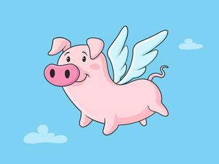 Flying pig cartoon illustration