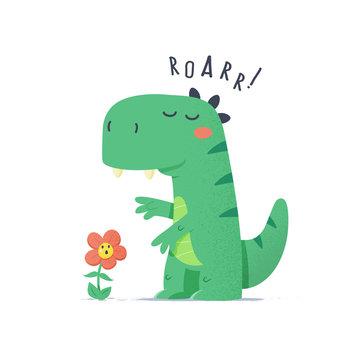 Cute little green dinosaur monster trying to scare flower vector cartoon illustration