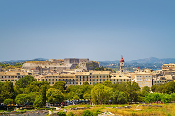 view to historic centre of kerkyra with new fortress, corfu island, greece
