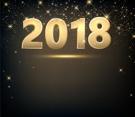 Golden 2018 New Year background.