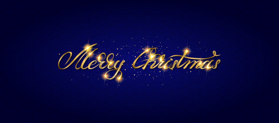 Gold Merry Christmas Card.