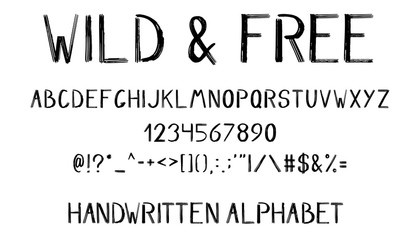 hand drawn brush alphabet, numbers, symbols and punctuation isolated on white background