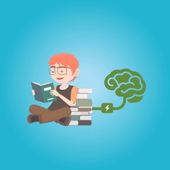 Young boy reading books charging his brain with information, knowledge and new ideas. Feed your brain concept illustration vector.