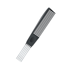 Cartoon trendy metal pin tail comb for multy purposy use icon. Salon and professional fashion accessories vector illustration.