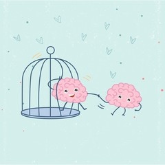 Human brain helping other brain to escape from bird cage. Support for imprisoned mind concept illustration vector.