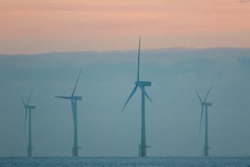Sustainable resources. Misty morning wind farm turbines. Pastel sunrise at sea.