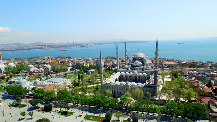 Aerial View of Istanbul, Hagia Sophia and Blue Mosque