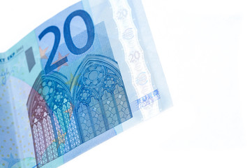 20 euro banknotes isolated
