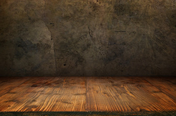 Old concrete wall with wooden floor