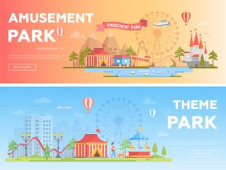 Amusement park - set of modern flat vector i llustrations