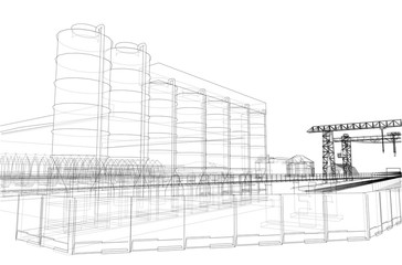 Industrial buildings. Vector