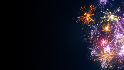 Fireworks on edge and free space holiday image