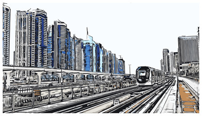 Vector illustration with sketch of Tram metro and buildings in Dubai, UAE.