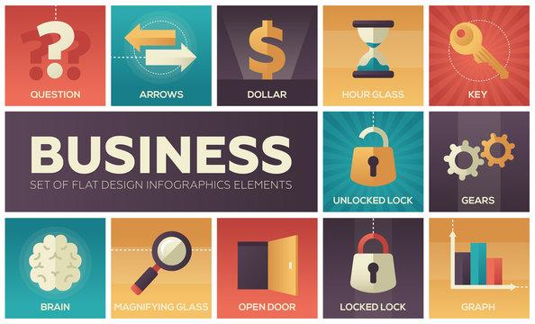 Business - set of flat design infographics elements