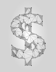 Dollar symbol low poly design. USA currency sign polygonal triangle connected dot line. White gray glowing icon vector illustration