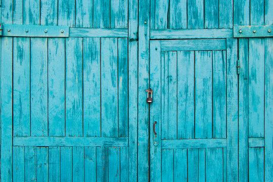 wooden blue door close-up