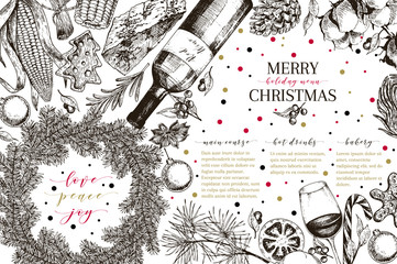 Christams menu. Vector sketched vintage style banner.Holiday reataurnat promotion. Xmas decoration, food. Cotton, gingerbread cookies, cocoa, wine, vegetables. New Year party. Business promotion