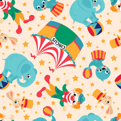 Seamless pattern of circus collection with rabbit in hat, elephant on the ball,balloon and clown. Vector background.