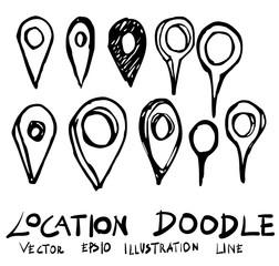 Set of location doodle illustration Hand drawn Sketch line vector eps10