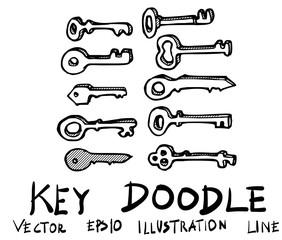 Set of Key doodle illustration Hand drawn Sketch line vector eps10