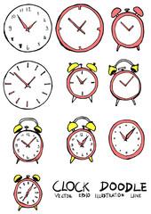 Set of Clock illustration Hand drawn Sketch line vector eps10