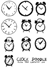 Set of Clock illustration Hand drawn Sketch line vector eps10
