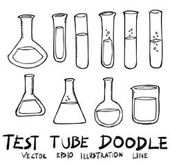 Set of Test Tube illustration Hand drawn Sketch line vector eps10