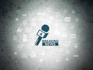 News concept: Breaking News And Microphone on Digital Data Paper background