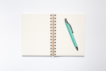 School notebook with stylish green pen