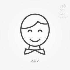 Line icon guy