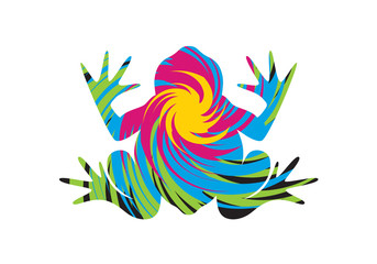 Frog psychedelic vector. Colorful frog vector illustration. Abstract frog clip art