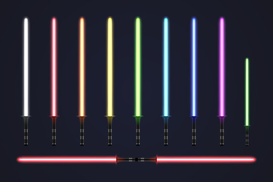 Futuristic light sabers set. Collection of glowing laser swords