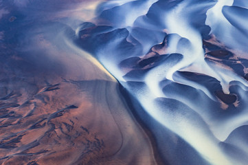 Aerial view of a river in Iceland