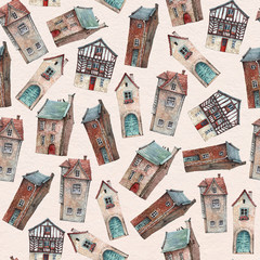 Seamless pattern with hand painted in watercolor old houses