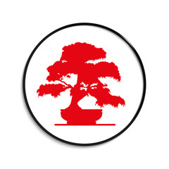 Bonsai dwarf in a flower pot. Vector icon.