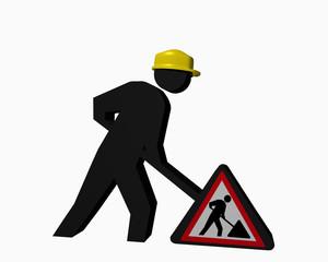 Baustellen-Männchen mit Baustellenschild für die Betriebssicherheit
