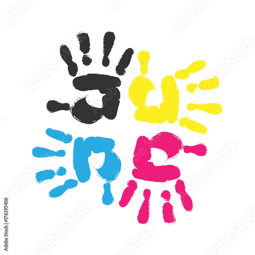 Hand Print Four Color Ink For Printing Prints Of Different Colors Vector