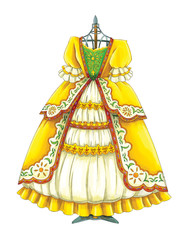 cartoon old style dress on the stand - illustration for children