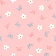 Small flowers and butterflies drawn by hand. Cute seamless pattern for children.